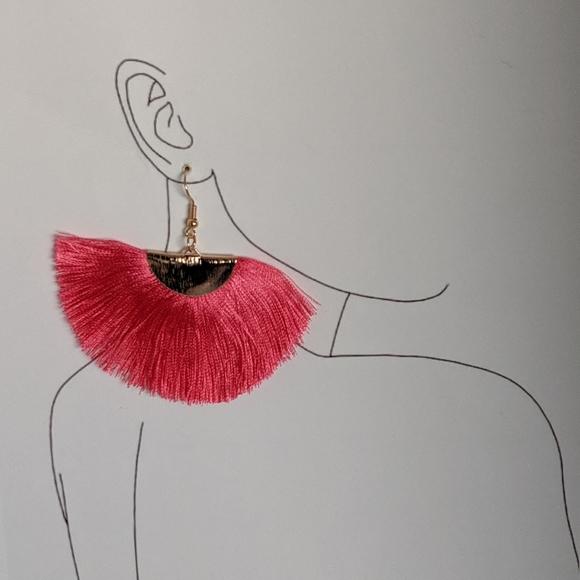 Simply Mahari Jewelry - Bohemian Fan Fringe Silk Tassel Statement Earring